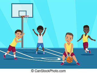 Vector cartoon Illustration of kids playing basketball in schoool.