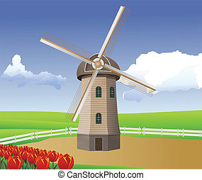 windmill - vector cartoon illustration of landscape with...