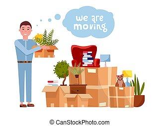 Vector cartoon illustration of loader mover man carrying box...