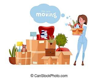 Vector cartoon illustration of loader mover woman in uniform...