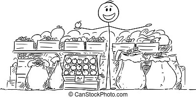 Vector cartoon stick figure drawing conceptual illustration of local farmer selling food, fruit and vegetable on market.