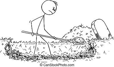 Vector Cartoon Illustration of Man Digging Grave