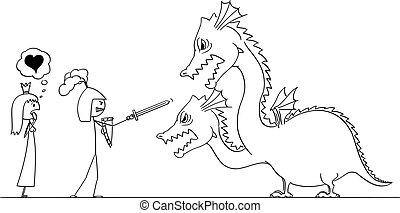 Vector Cartoon Illustration of Man Knight or Man in Armor Going to Fight with Dragon For His Princess or Love