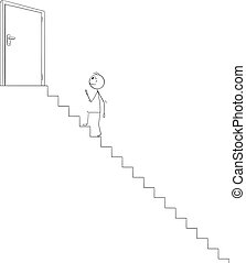 Vector Cartoon Illustration of Man or Businessman Climbing Up the Stairs to open door leading to Success or Victory. Career Concept.