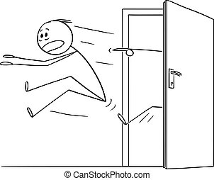 Vector Cartoon Illustration of Man or Businessman Kicked Out of the Door