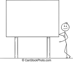 Vector Cartoon Illustration of Man or Businessman Leaning Towards and pointing at Empty Billboard