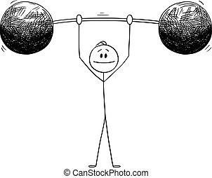 Vector Cartoon Illustration of Man or Businessman Lifting Heavy Weight