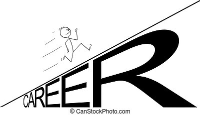 Vector Cartoon Illustration of Man or Businessman Running Up the Career Hill. Business or Success Concept