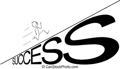 Vector Cartoon Illustration of Man or Businessman Running Up the Success Hill. Business or Career Concept
