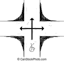 Vector Cartoon Illustration of Man or Businessman Standing on Crossroad and Making Decision about Future