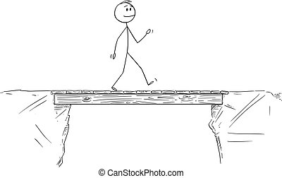 Vector Cartoon Illustration of Man or Businessman Walking and Crossing the Bridge