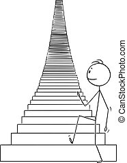 Vector Cartoon Illustration of Man or Businessman Walking Up the Stairs to Heaven or Success
