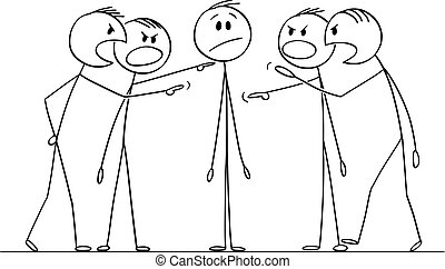 Vector cartoon stick figure drawing conceptual illustration of man or businessman who is questioned, interrogated or blamed by group of men or colleagues.