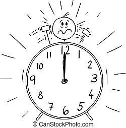 Vector Cartoon Illustration of Man or Frustrated Businessman, His Head is as Bell on the Ringing Alarm Clock and Hammers Are Beating Him. Deadline or Wake Up Concept