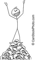 Vector cartoon illustration of happy man or winner celebrating on top of heap or pile of human skulls. Concept of victory and defeat.