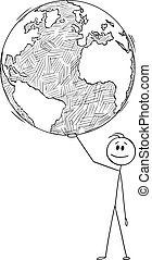 Vector Cartoon Illustration of Man, Politician or Businessman Holding World or Earth on Hand