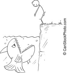 Vector Cartoon Illustration of Man Ready to Jump in to Water...