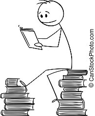 Vector Cartoon Illustration of Man Sitting on Pile of Books and Reading a Book