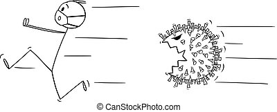Vector cartoon stick figure drawing conceptual illustration of man wearing protective face mask running away in fear or panic chased by covid-19.
