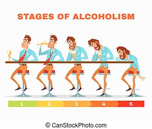 Vector cartoon illustration of men at different stages of...