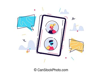Vector cartoon illustration of Mobile