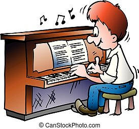 Vector Cartoon illustration of of a Musical Piano Player