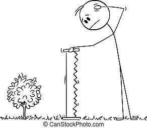 Vector Cartoon Illustration of Perplexed Man With Big ...