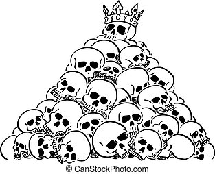 Vector cartoon illustration of heap or pile of human skulls. Skull of leader or king is on top. Concept of violence, epidemic, war, death, evanescence and fleetingness.