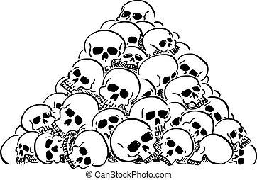 Vector cartoon illustration of heap or pile of human skulls. Concept of violence, epidemic, war or death.