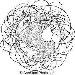 Vector Cartoon Illustration of Planet Earth Surrounded by Nuclear Rockets and Explosions, Nuclear War Concept