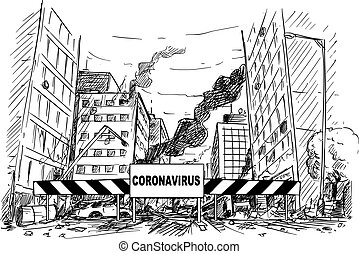 Vector Cartoon Illustration of Quarantine Area Roadblock Blocking Destroyed City Street after Infection Panic or Coronavirus Covid-19 Epidemic.