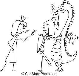 Vector Cartoon Illustration of Queen or Princess Yelling at Knight or Warrior or Prince and Dragon. Relationship Problem.