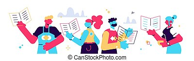 Vector cartoon illustration of reading people