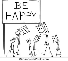 Vector cartoon stick figure drawing conceptual illustration of sad and depressed people walking under be happy sign, with paper bags with painted smile on their heads as mask.