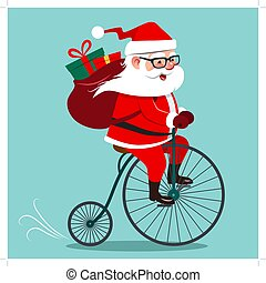 Vector cartoon illustration of Santa Claus riding antique vintage penny-farthing bicycle, with backpack full of gifts on back. Retro hipster Christmas holiday contemporary flat style design element.