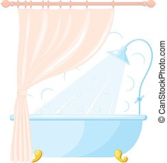 Vector cartoon illustration of shower tray and a curtain in bathroom interior