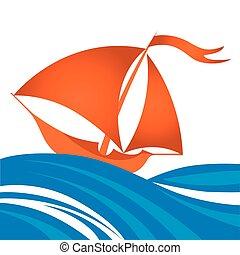 Vector cartoon illustration of small sailing ship in ocean