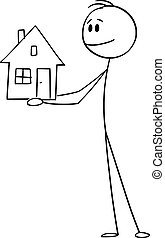 Vector Cartoon Illustration of Smiling Man or Businessman Holding Small Family House
