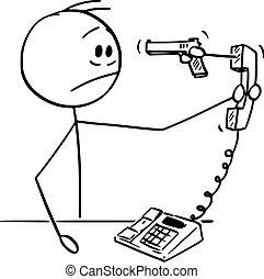Vector Cartoon Illustration of Stressed Man or Businessman ...