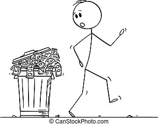Vector Cartoon Illustration of Surprised Man or Businessman Walking Around Garbage Can or Dustbin Full of Money Thrown as Waste