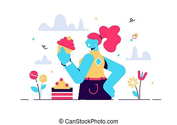 Vector cartoon illustration of Sweet tooth lady eating cake...