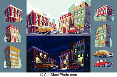 Set of vector cartoon illustrations of the historic urban area day and night, icons of buildings and cars in the cartoon style