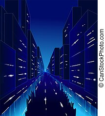Vector cartoon illustration of the night street of city