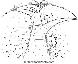 Vector Cartoon Illustration of the Path or Way Forward and Branching Through Nature, Pen and Ink Black and White Drawing