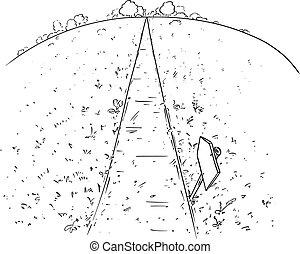 Vector Cartoon Illustration of the Path or Way Forward Through Nature, Pen and Ink Black and White Drawing