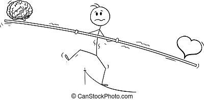 Vector Cartoon Illustration of Tightrope Walker, Man or Businessman Walking on Rope. Balancing Heart and Brain.