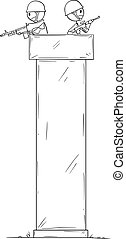 Vector cartoon stick figure drawing conceptual illustration of two armed guards or soldiers guarding on turret or defensive tower.