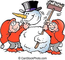 Elf making a big Snowman