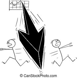 Vector Cartoon Illustration of Two Men or Businessmen Running Away in Panic From the Falling Financial Graph Arrow.Crisis or Recession Concept.