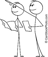 Vector Cartoon Illustration of Two Men or Tourists Looking and Pointing at Something Big or High and Reading Information in Paper, Brochure or Booklet About Historic building or Sight